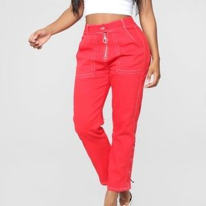 Fashion Nova Red boyfriend jeans/trousers